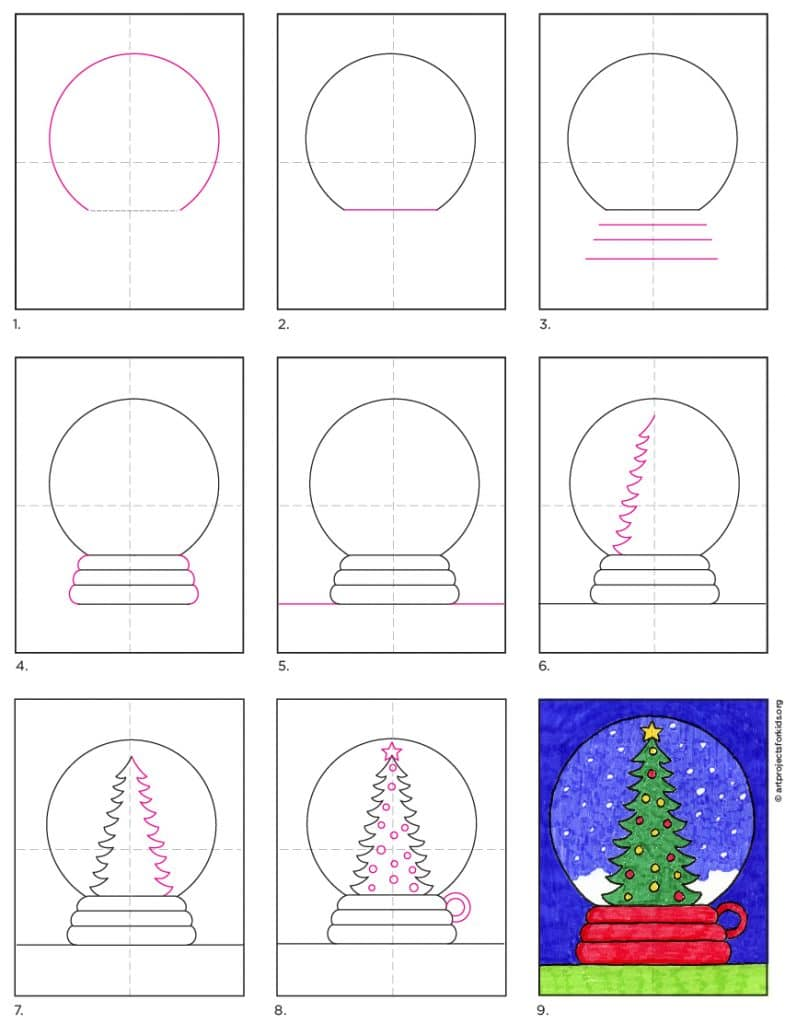 how to draw a snow globe