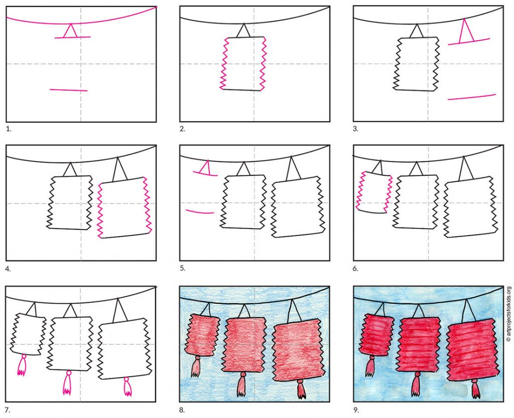 how to draw Chinese lanterns