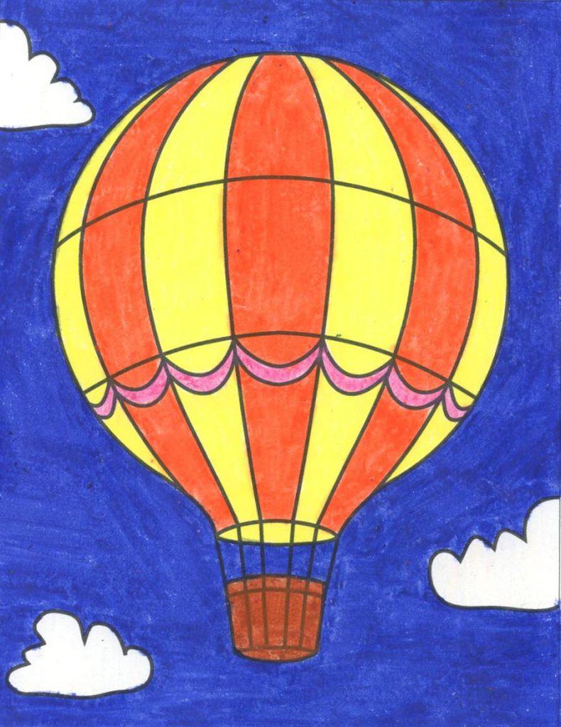 draw an easy hot air balloon