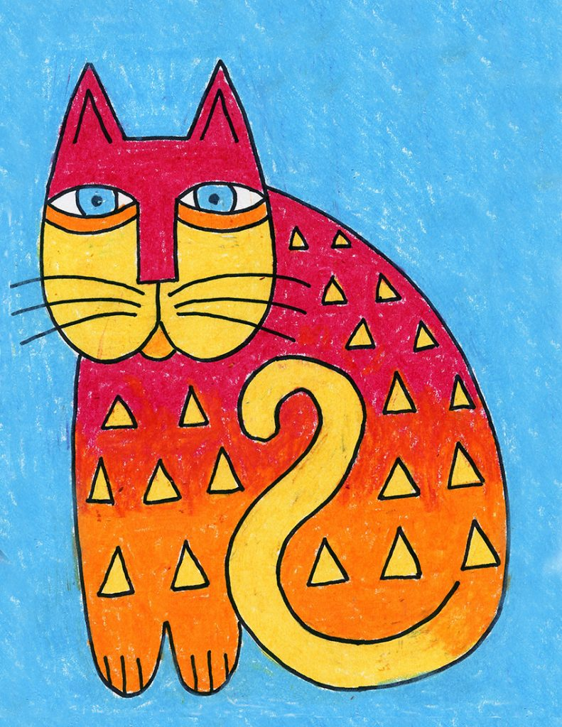 A Laurel Burch Cat drawing made with markers and crayons.