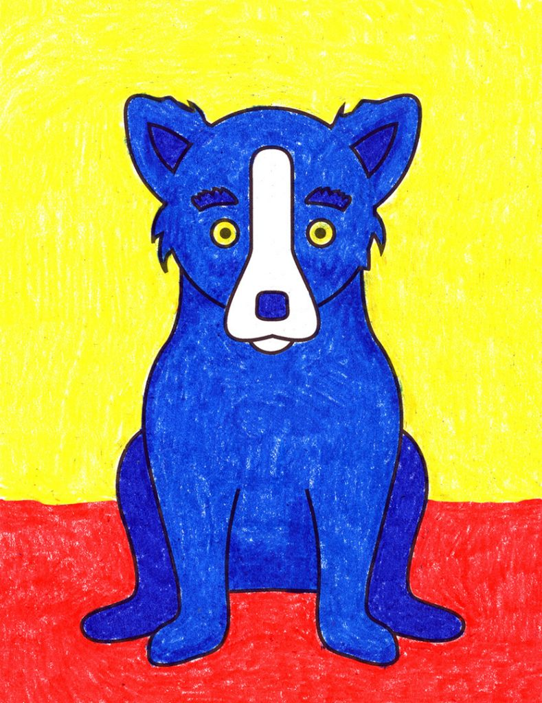 A drawing of Blue Dog, the famous series of paintings by artist George Rodrigue