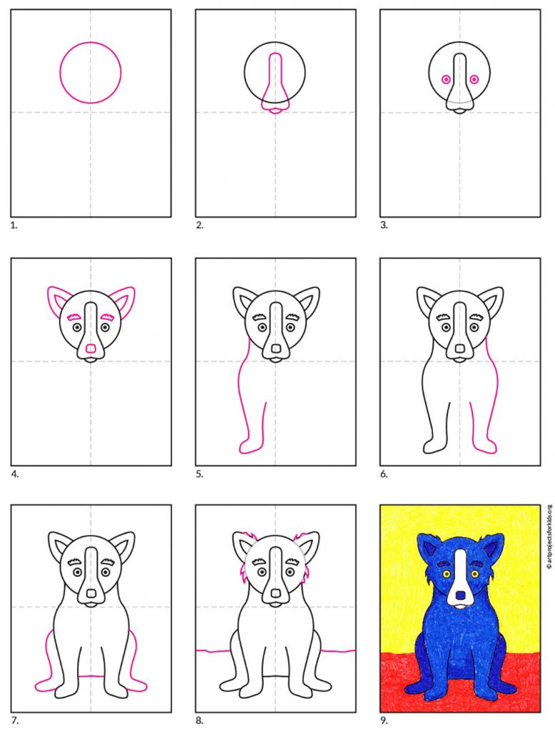 A step by step diagram of how to draw Blue Dog