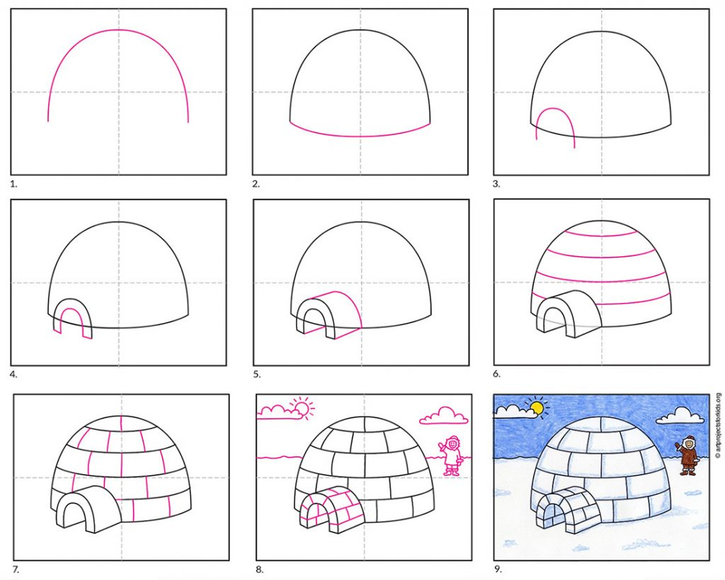 How to draw an igloo