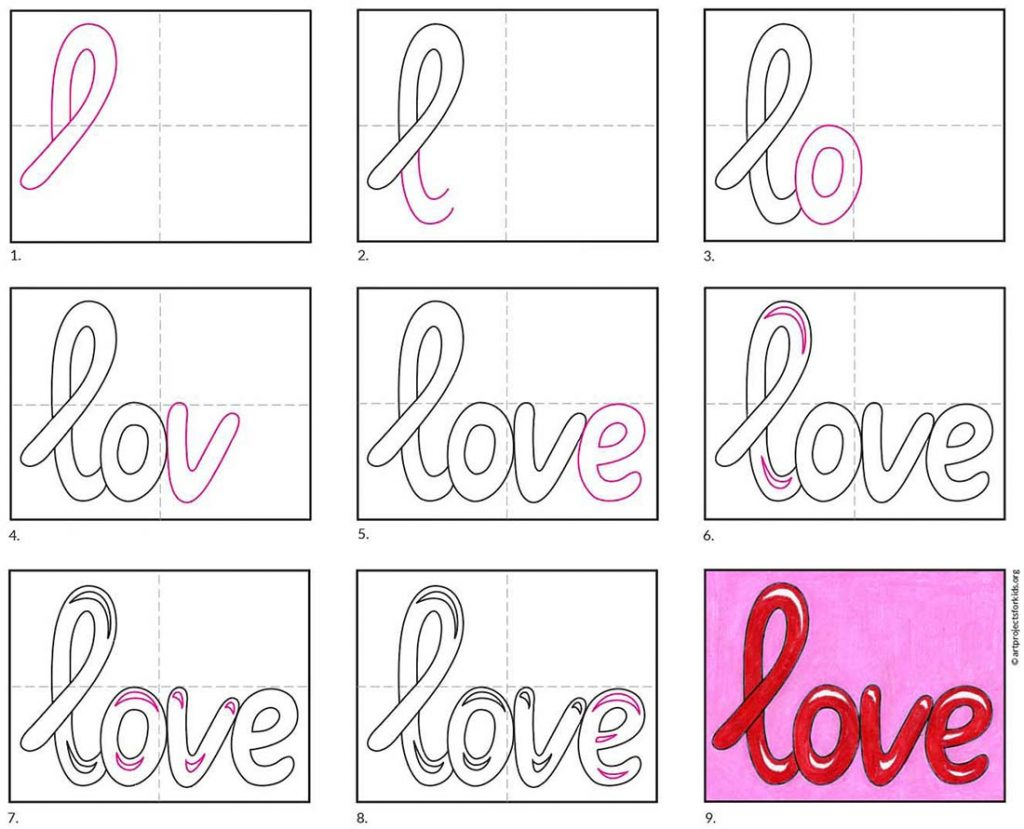 how to draw Love Letters