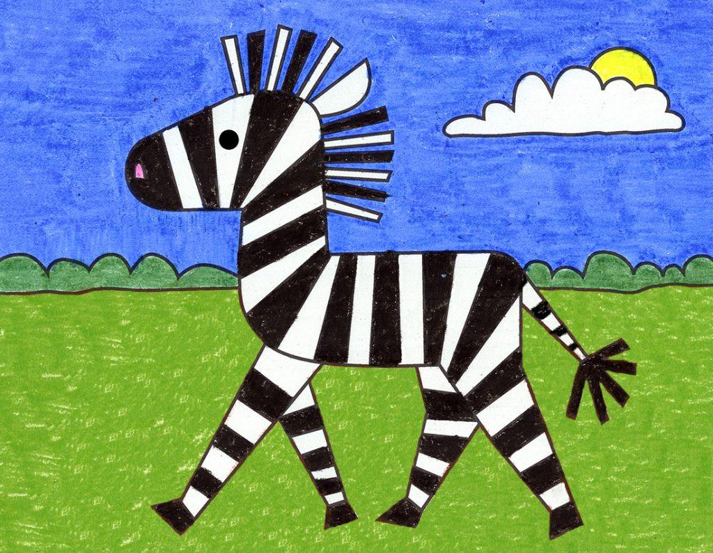 How to Draw a Cartoon Zebra
