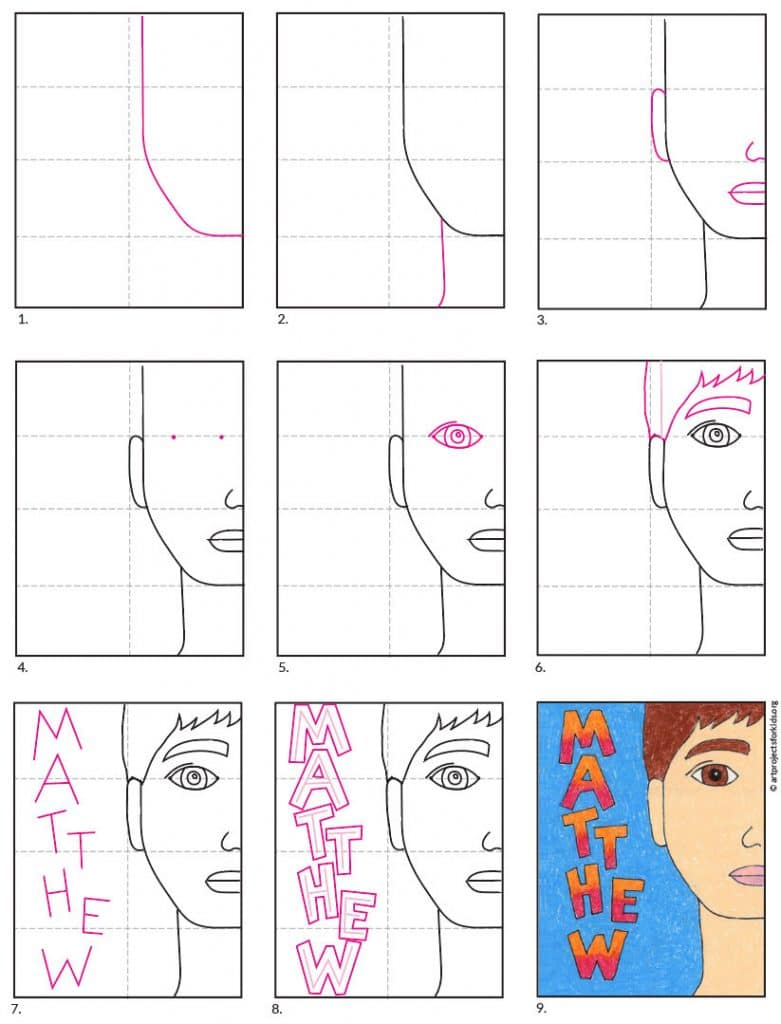 Easy self portraits for kids art lesson, complete with step-by-step directions. Drawing half a face leaves lots of room for a name.