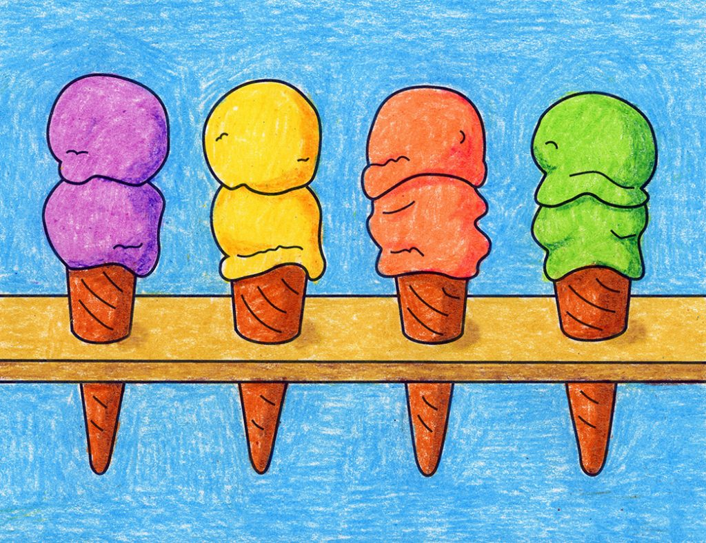 drawings of ice cream cones