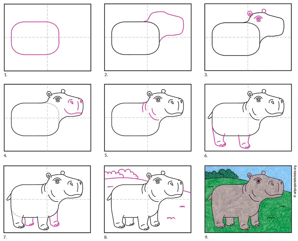 how to draw a Hippopotamus easy