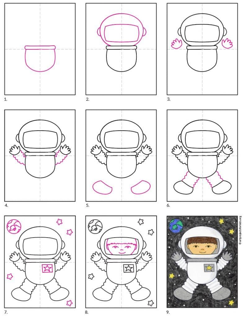 Draw an Astronaut diagram – Activity Craft Holidays, Kids, Tips