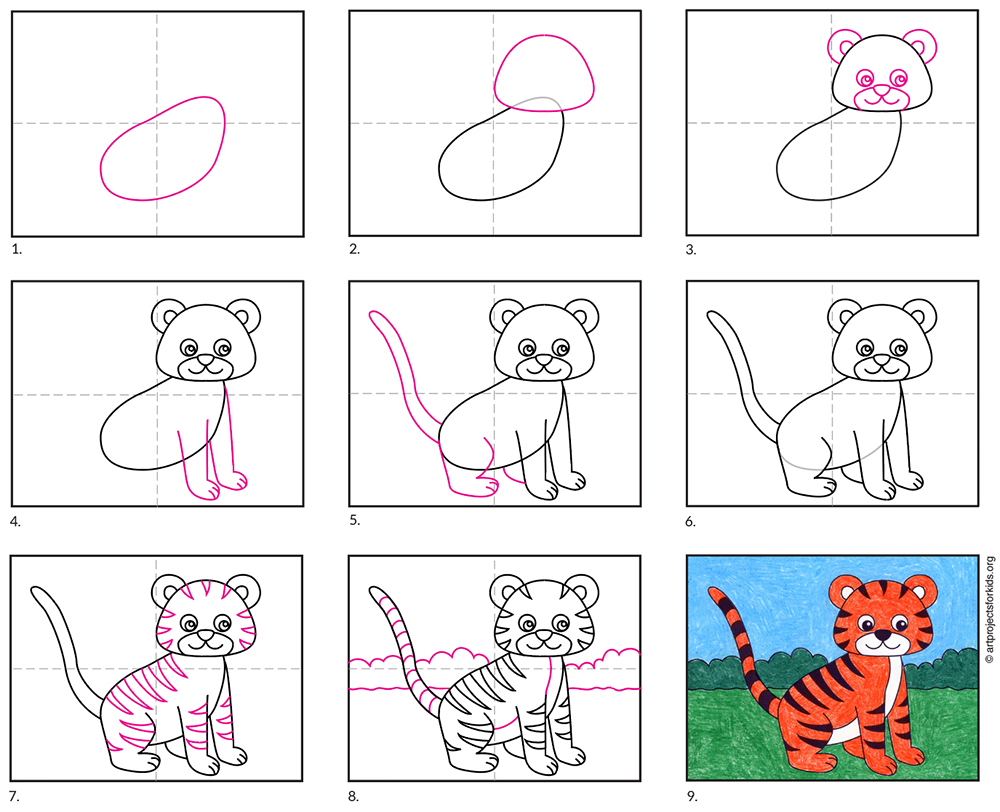 How to Draw an Easy Tiger