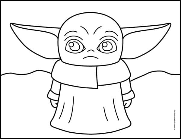 Baby Yoda Coloring page, available as a free download.