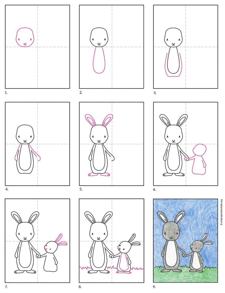 how to draw a bunny and a baby