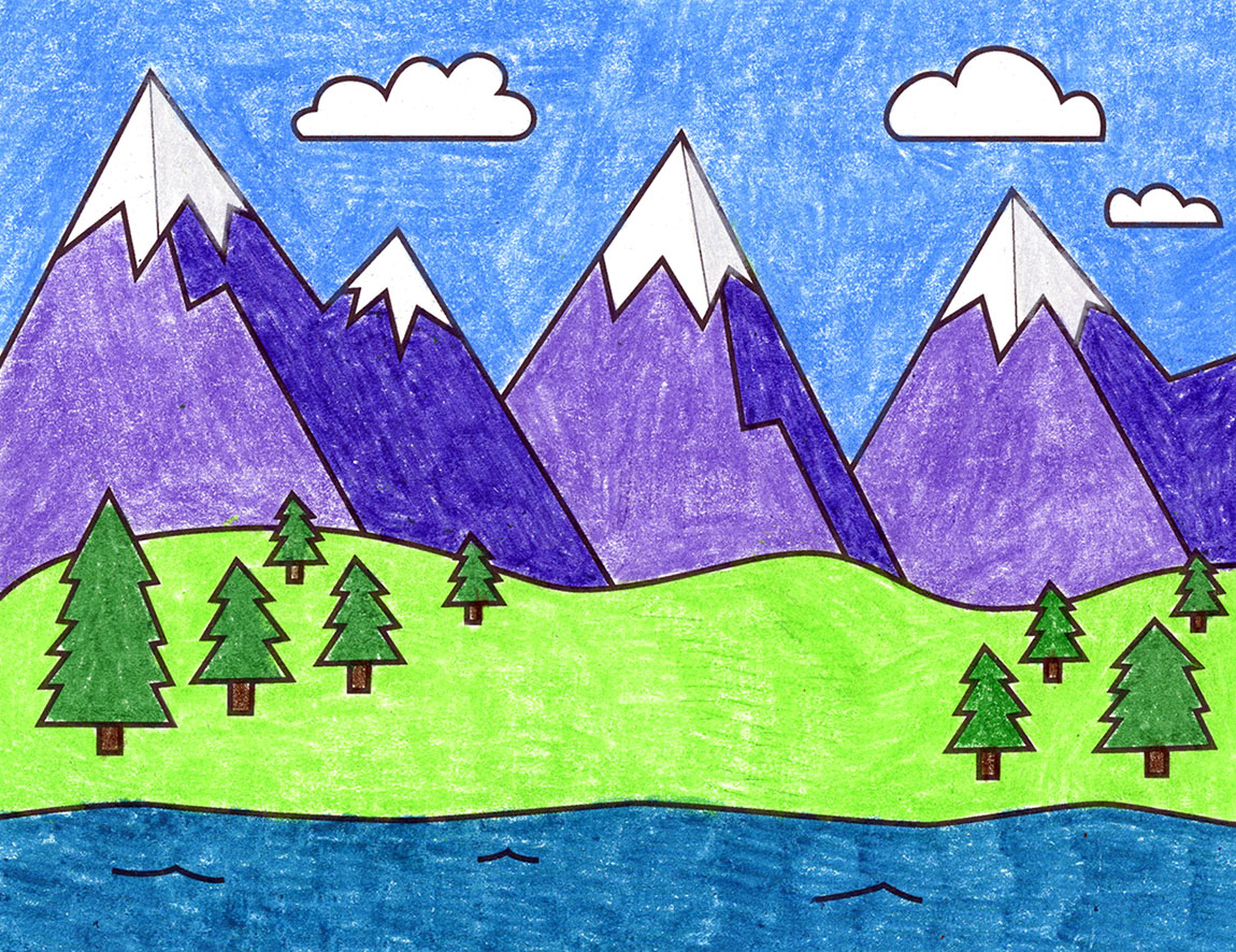 Easy How to Draw Mountains Tutorial and Mountains Coloring Page ...