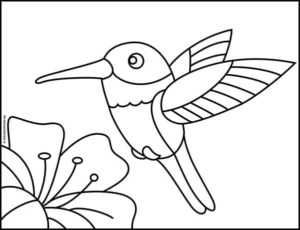 Grab this hummingbird coloring page to color with your kids.