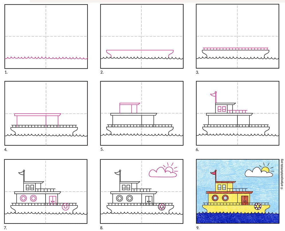 how to draw a houseboat