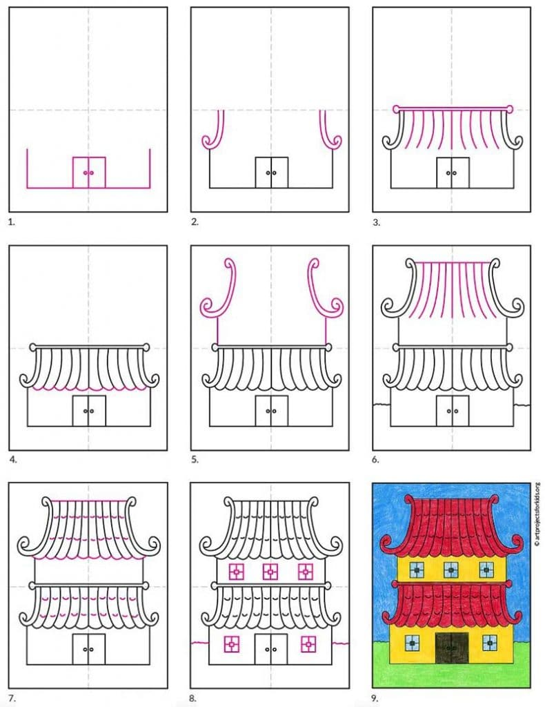 how to draw a Pagoda
