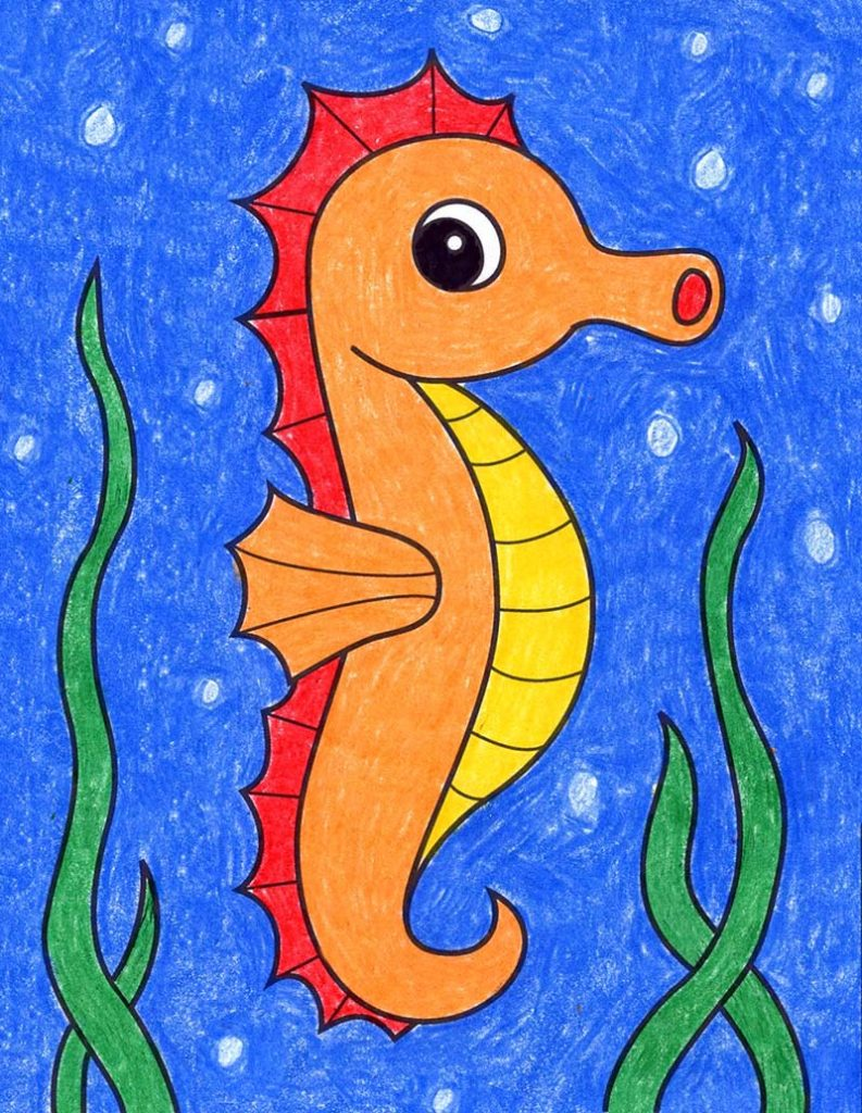 How to Draw an Easy Seahorse