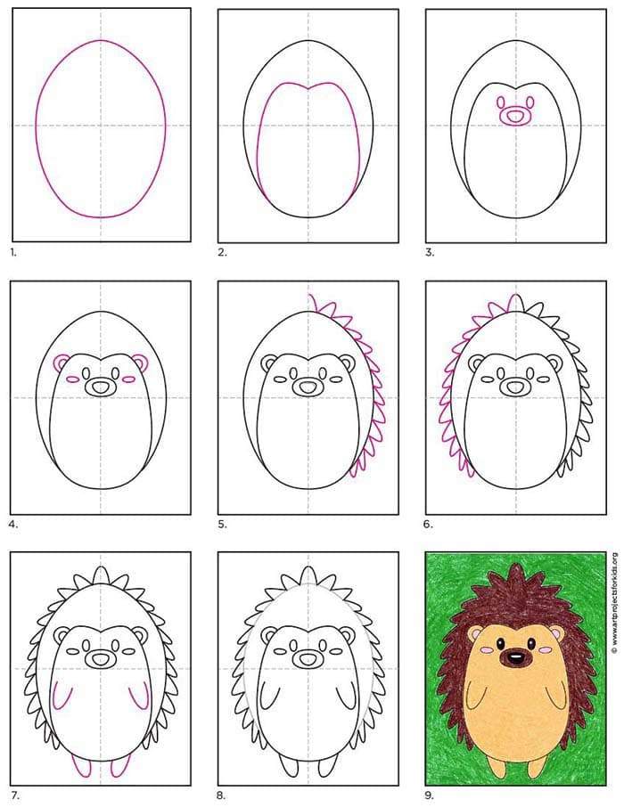 How to Draw a Hedgehog with an easy step by step tutorial.