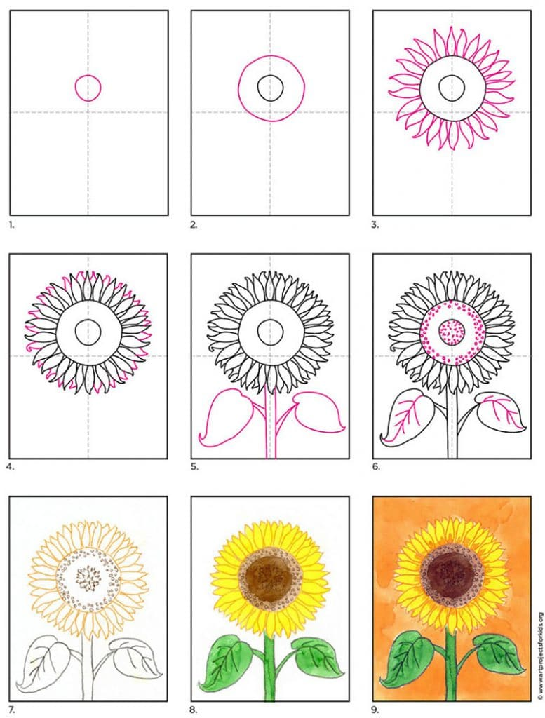 Learn how to paint a sunflower with a watercolor crayon resist.