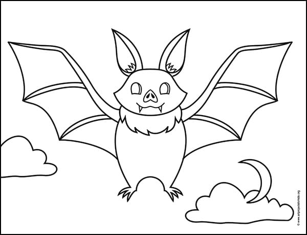 How to Draw a Bat Coloring Page