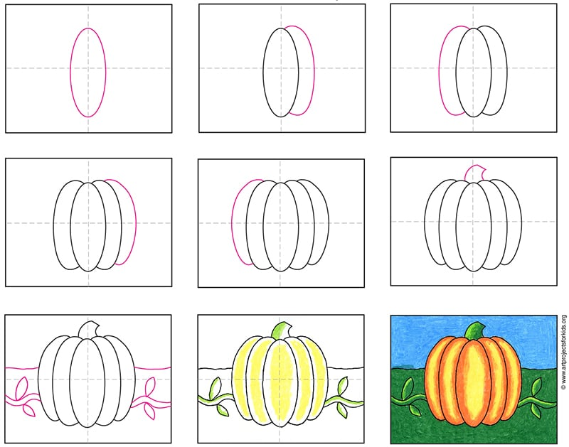 Learn how to draw a pumpkin with an easy step by step tutorial.