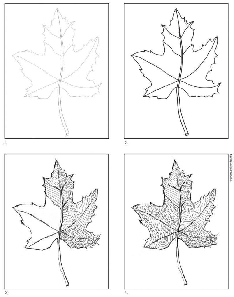 An easy art project that starts with a line drawing of a maple leaf. Trace and fill with patterns for a lovely work of art.