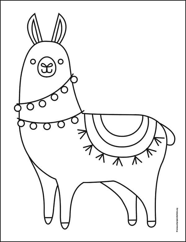 Here you'll find a free Llama Coloring Page to download.