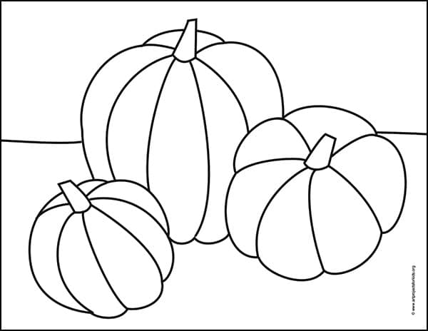 Pumpkin Coloring Page with three overlapping pumpkins. Come visit for your free download.