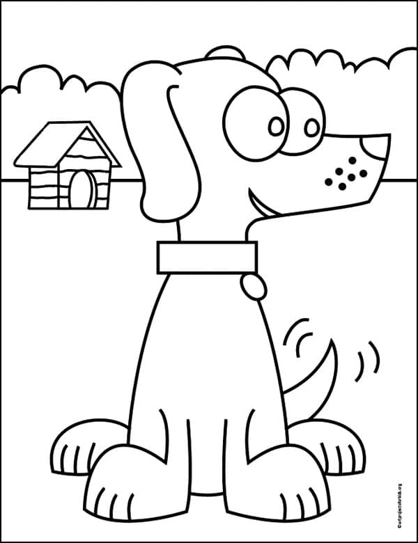 Cartoon Dog Coloring page, available as a free download. Part of a large Coloring Page Gallery.