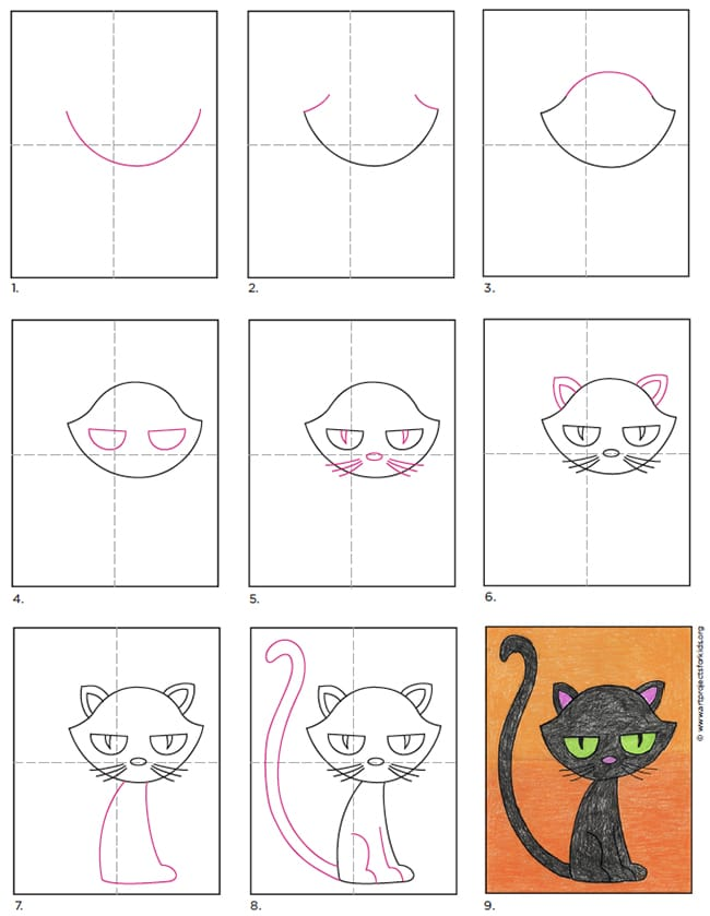 A step by step tutorial for how to draw an easy cartoon cat, also available as a free download.