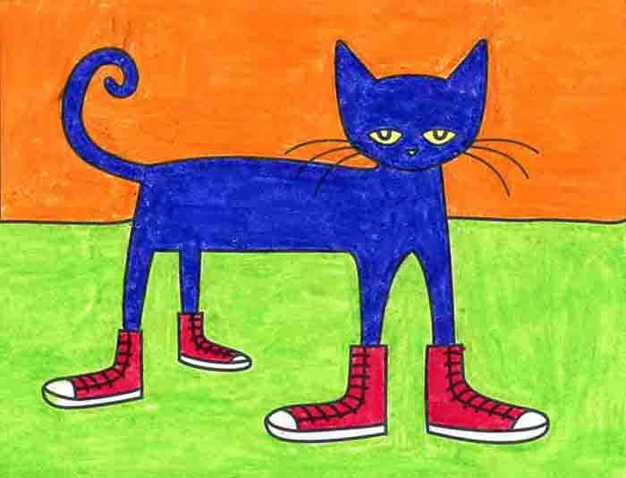 A drawing of Pete the Cat, made with the help of an easy step by step tutorial.