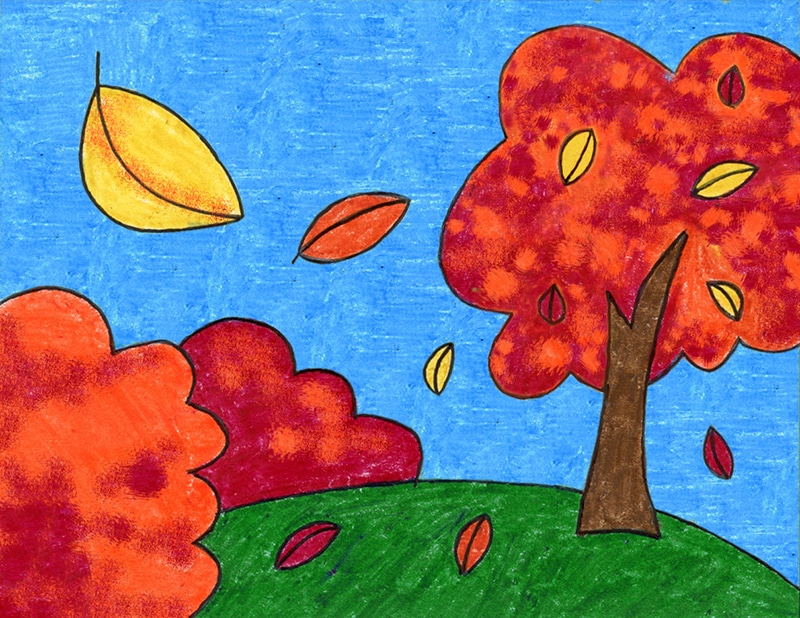 A drawing of a fall tree, made with the help of an easy step by step tutorial.