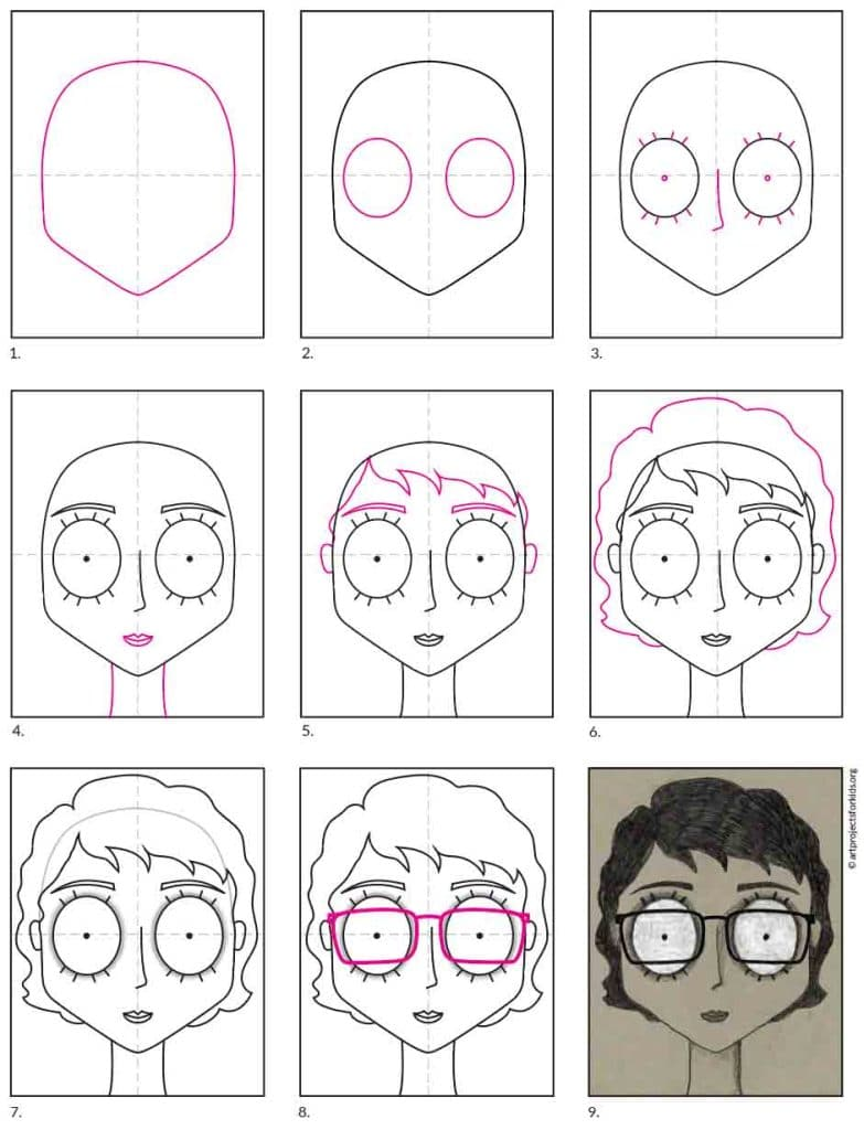 A step by step tutorial for how to draw a Nightmare Self Portrait, which is available as a free download.