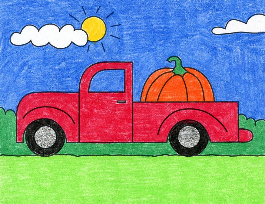 A drawing of a pickup truck, made with the help of an easy step by step tutorial.