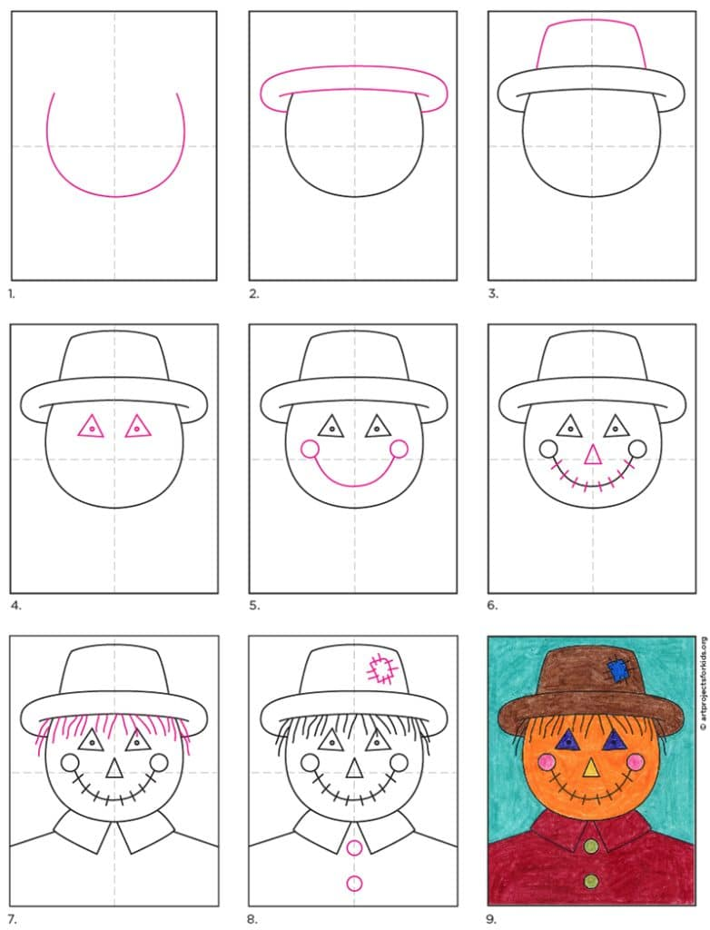 A step by step tutorial for how to draw an easy Scarecrow Face, which is available as a free download.