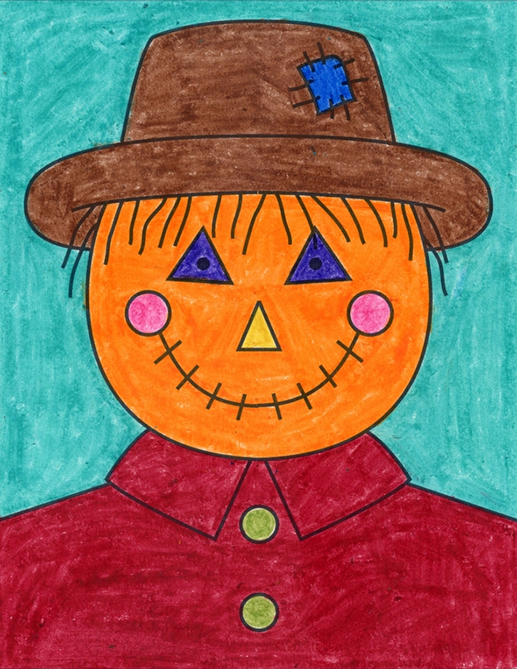 A drawing of a Scarecrow Face, made with the help of an easy step by step tutorial.