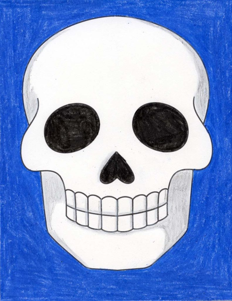 A drawing of a skull, made with the help of an easy step by step tutorial.