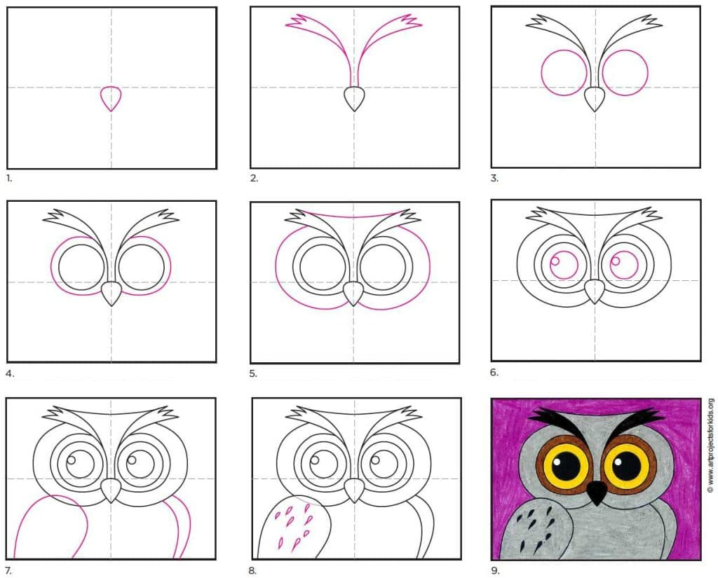 A step by step tutorial for how to draw an easy owl face.