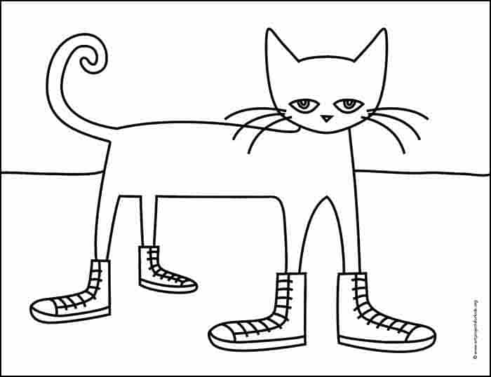 Pete the Cat Coloring page, available as a free download.