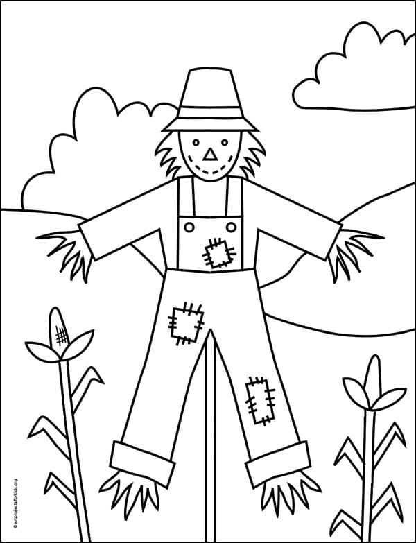 Scarecrow Coloring page, available as a free download.