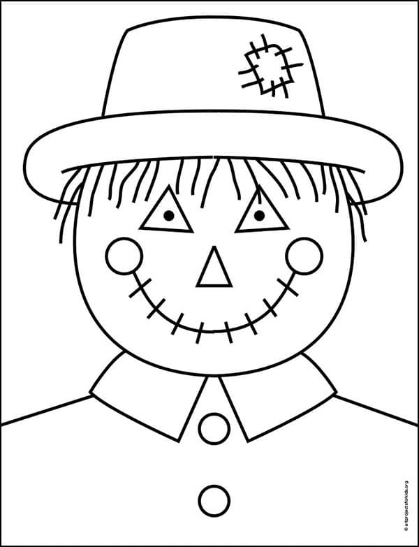Scarecrow Face Coloring page, available as a free download from my large Coloring Page Gallery.