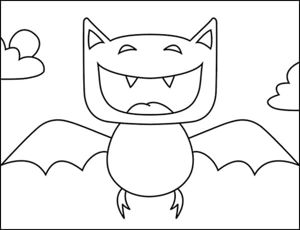 Cartoon Vampire Bat Coloring page, available as a free download.