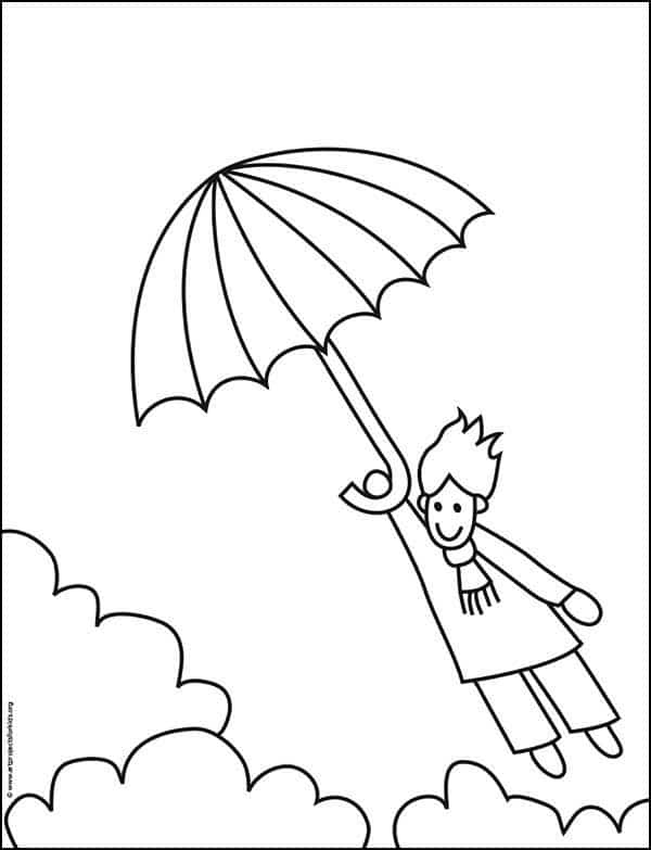 Windy Day Coloring Page